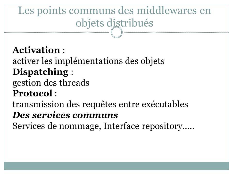 Les points communs des middlewares en objets distribués Activation : activer les implémentations des objets Dispatching : gestion des threads Protocol