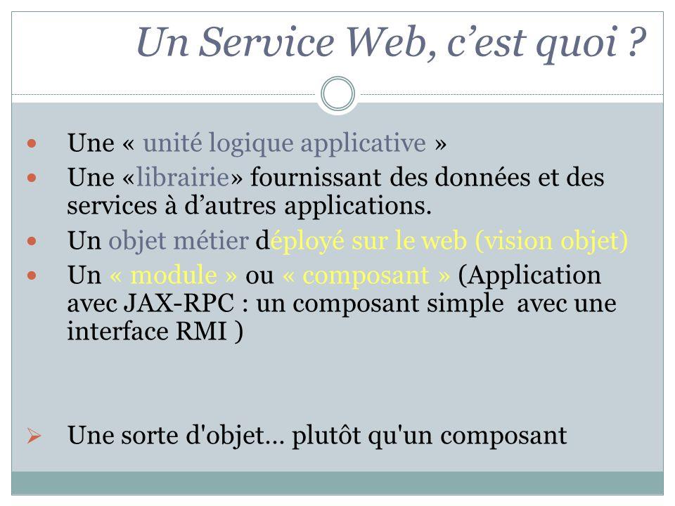 Une « unité logique applicative » Une «librairie» fournissant des données et des services à dautres applications. Un objet métier déployé sur le web (