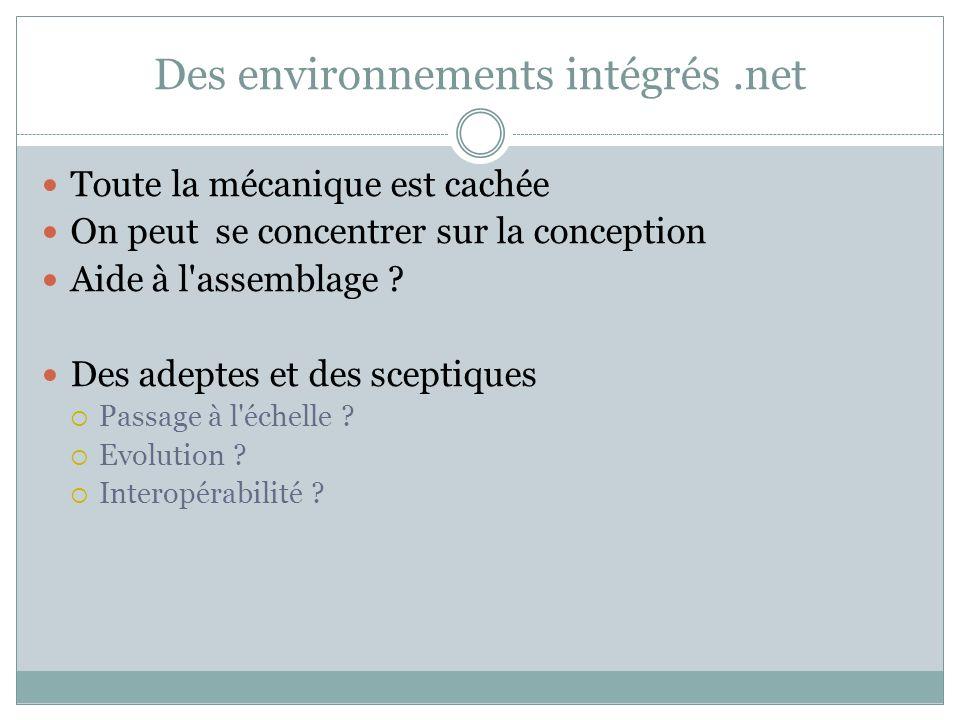 Des environnements intégrés.net Toute la mécanique est cachée On peut se concentrer sur la conception Aide à l'assemblage ? Des adeptes et des sceptiq