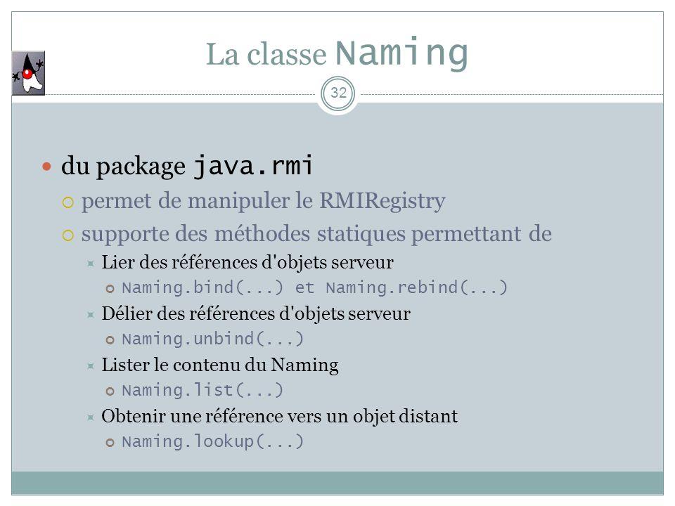 La classe Naming 32 du package java.rmi permet de manipuler le RMIRegistry supporte des méthodes statiques permettant de Lier des références d objets serveur Naming.bind(...) et Naming.rebind(...) Délier des références d objets serveur Naming.unbind(...) Lister le contenu du Naming Naming.list(...) Obtenir une référence vers un objet distant Naming.lookup(...)