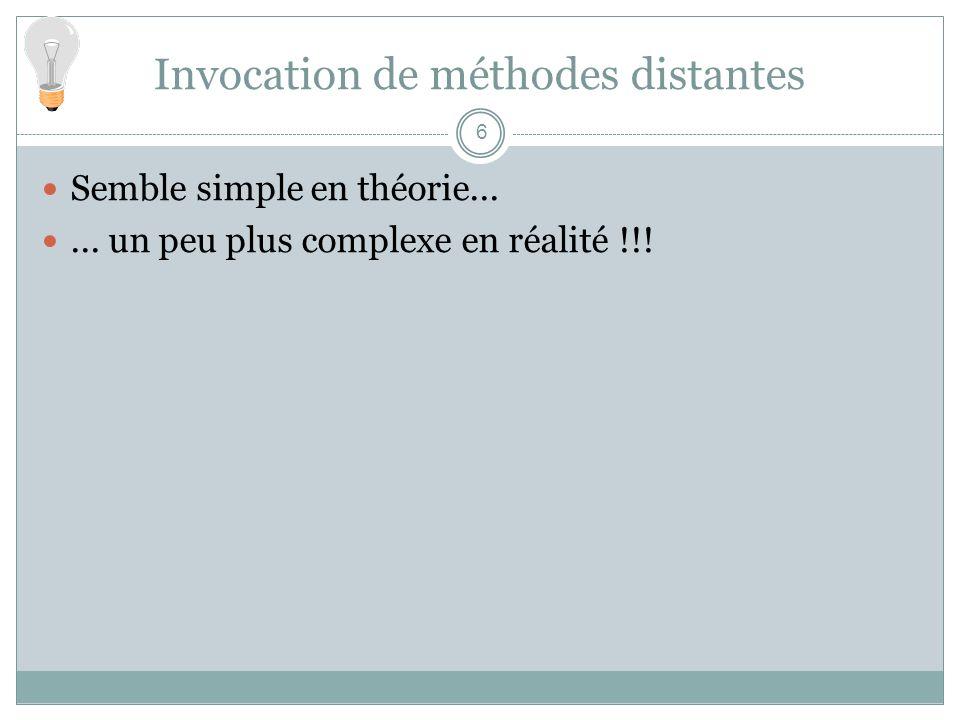 Invocation de méthodes distantes 6 Semble simple en théorie......