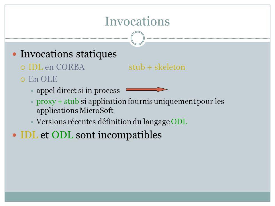 Invocations Invocations statiques IDL en CORBA stub + skeleton En OLE appel direct si in process proxy + stub si application fournis uniquement pour les applications MicroSoft Versions récentes définition du langage ODL IDL et ODL sont incompatibles