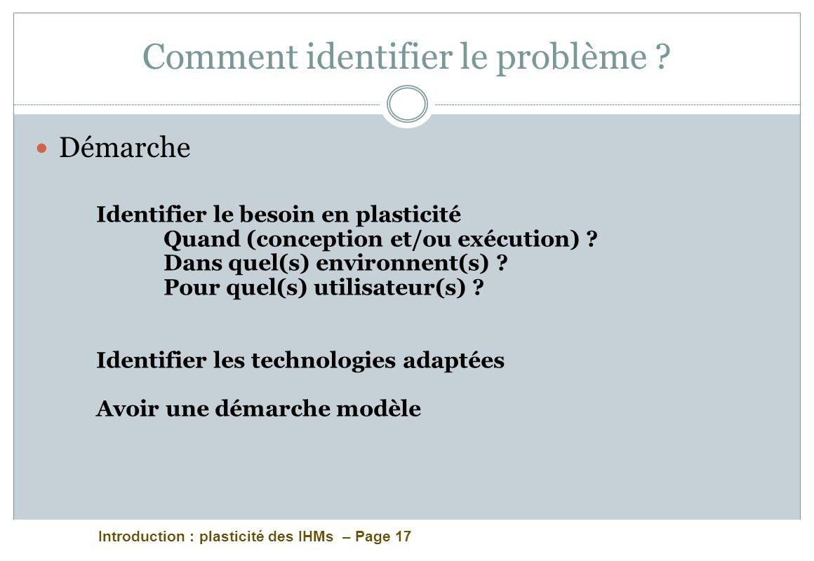 Introduction : plasticité des IHMs – Page 17 Comment identifier le problème ? Démarche Identifier le besoin en plasticité Quand (conception et/ou exéc