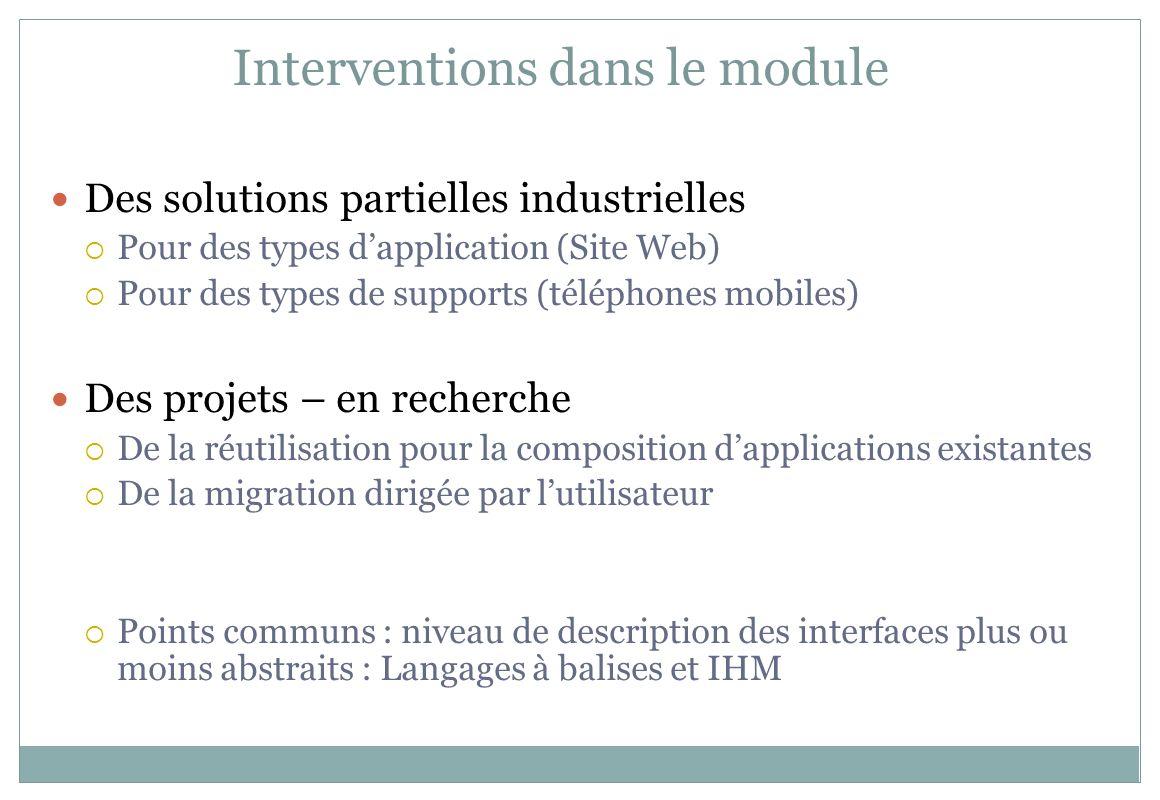 Interventions dans le module Des solutions partielles industrielles Pour des types dapplication (Site Web) Pour des types de supports (téléphones mobi