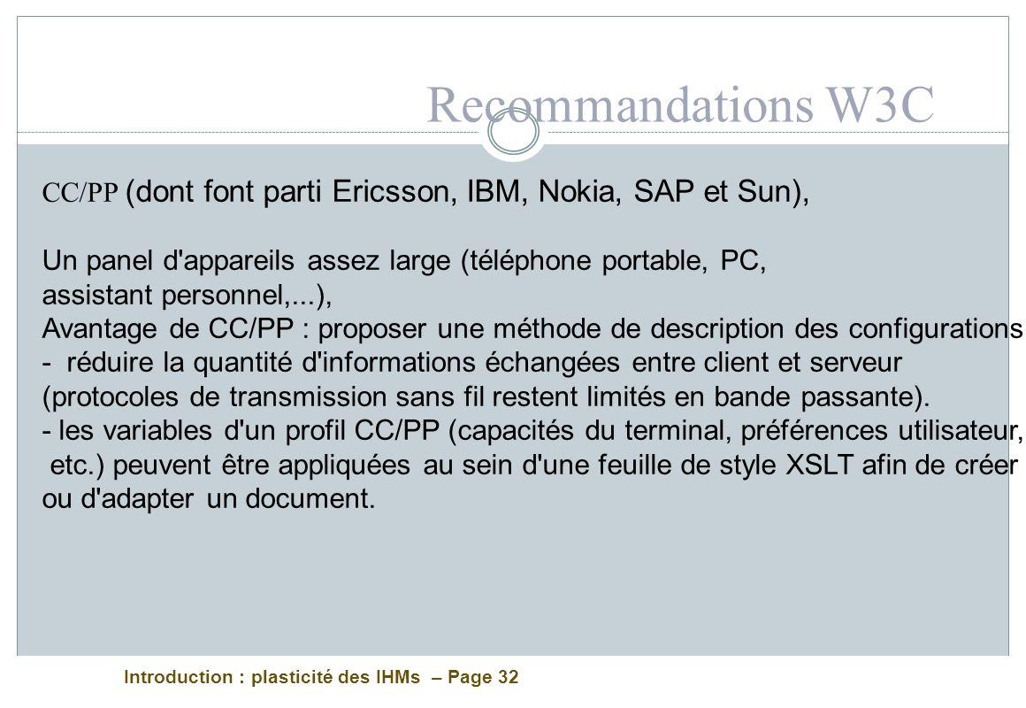 Introduction : plasticité des IHMs – Page 32 CC/PP (dont font parti Ericsson, IBM, Nokia, SAP et Sun), Un panel d'appareils assez large (téléphone por