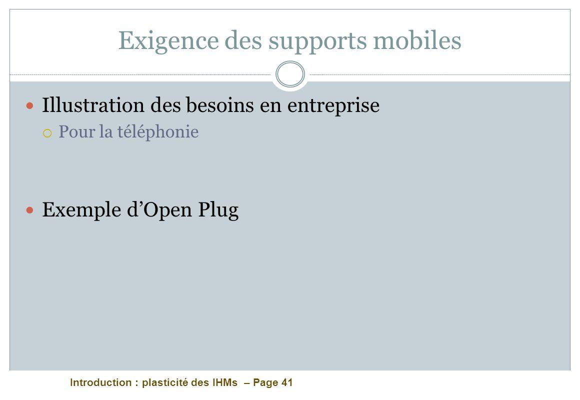 Introduction : plasticité des IHMs – Page 41 Exigence des supports mobiles Illustration des besoins en entreprise Pour la téléphonie Exemple dOpen Plu