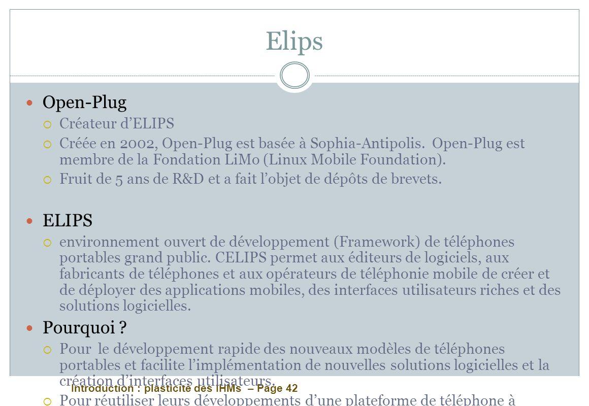 Introduction : plasticité des IHMs – Page 42 Elips Open-Plug Créateur dELIPS Créée en 2002, Open-Plug est basée à Sophia-Antipolis. Open-Plug est memb