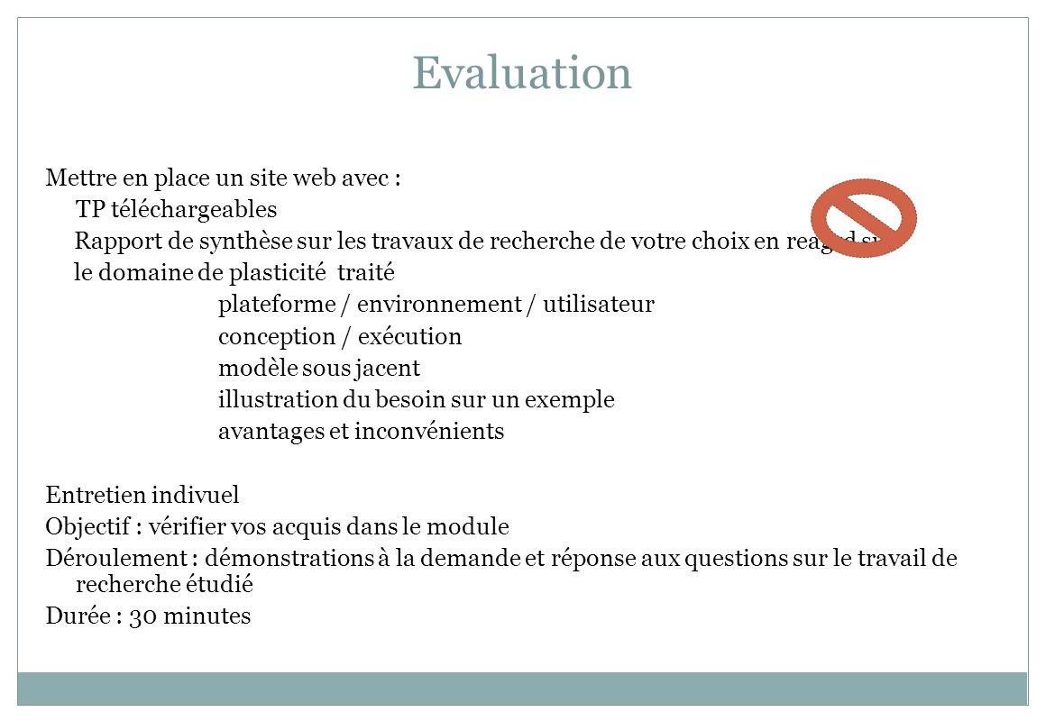 Evaluation Mettre en place un site web avec : TP téléchargeables Rapport de synthèse sur les travaux de recherche de votre choix en reagrd sur le doma