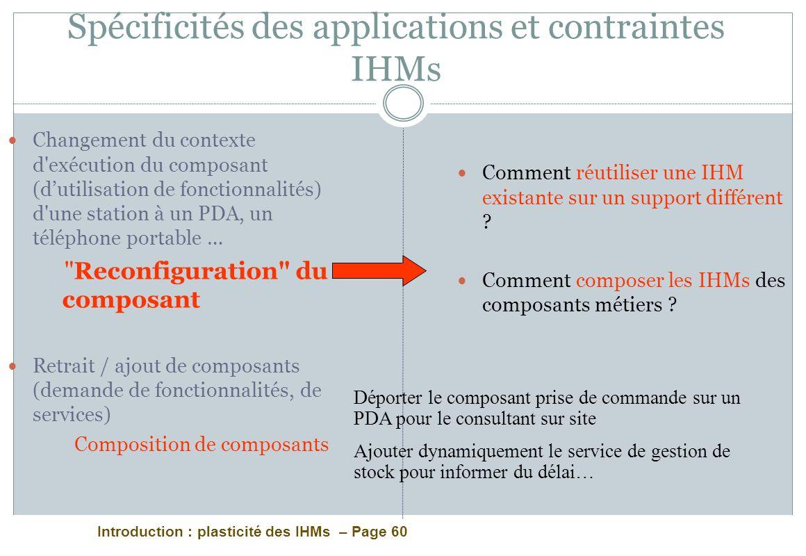 Introduction : plasticité des IHMs – Page 60 Spécificités des applications et contraintes IHMs Changement du contexte d'exécution du composant (dutili