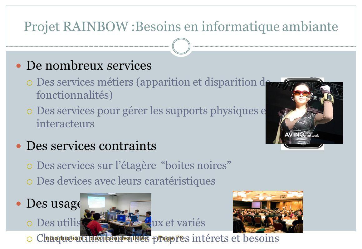 Introduction : plasticité des IHMs – Page 76 Projet RAINBOW :Besoins en informatique ambiante De nombreux services Des services métiers (apparition et
