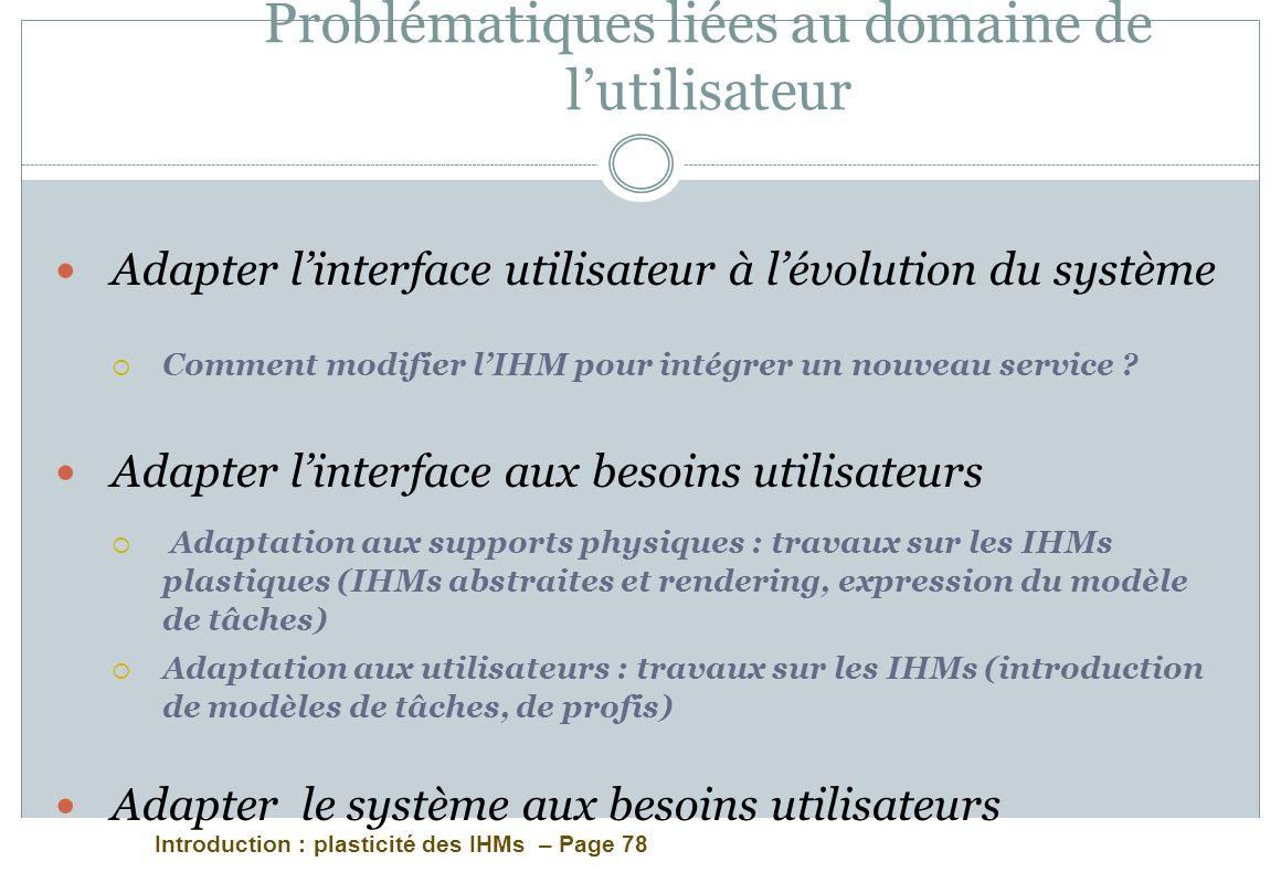 Introduction : plasticité des IHMs – Page 78 Problématiques liées au domaine de lutilisateur Adapter linterface utilisateur à lévolution du système Co