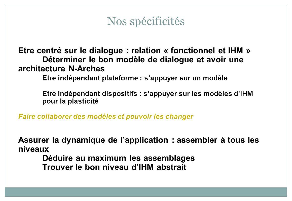 Nos spécificités Etre centré sur le dialogue : relation « fonctionnel et IHM » Déterminer le bon modèle de dialogue et avoir une architecture N-Arches