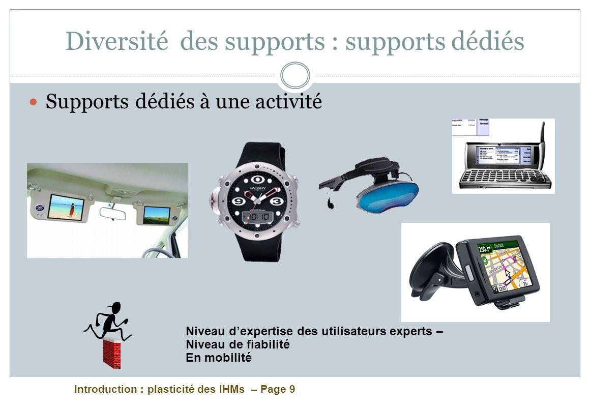 Introduction : plasticité des IHMs – Page 9 Diversité des supports : supports dédiés Supports dédiés à une activité Niveau dexpertise des utilisateurs