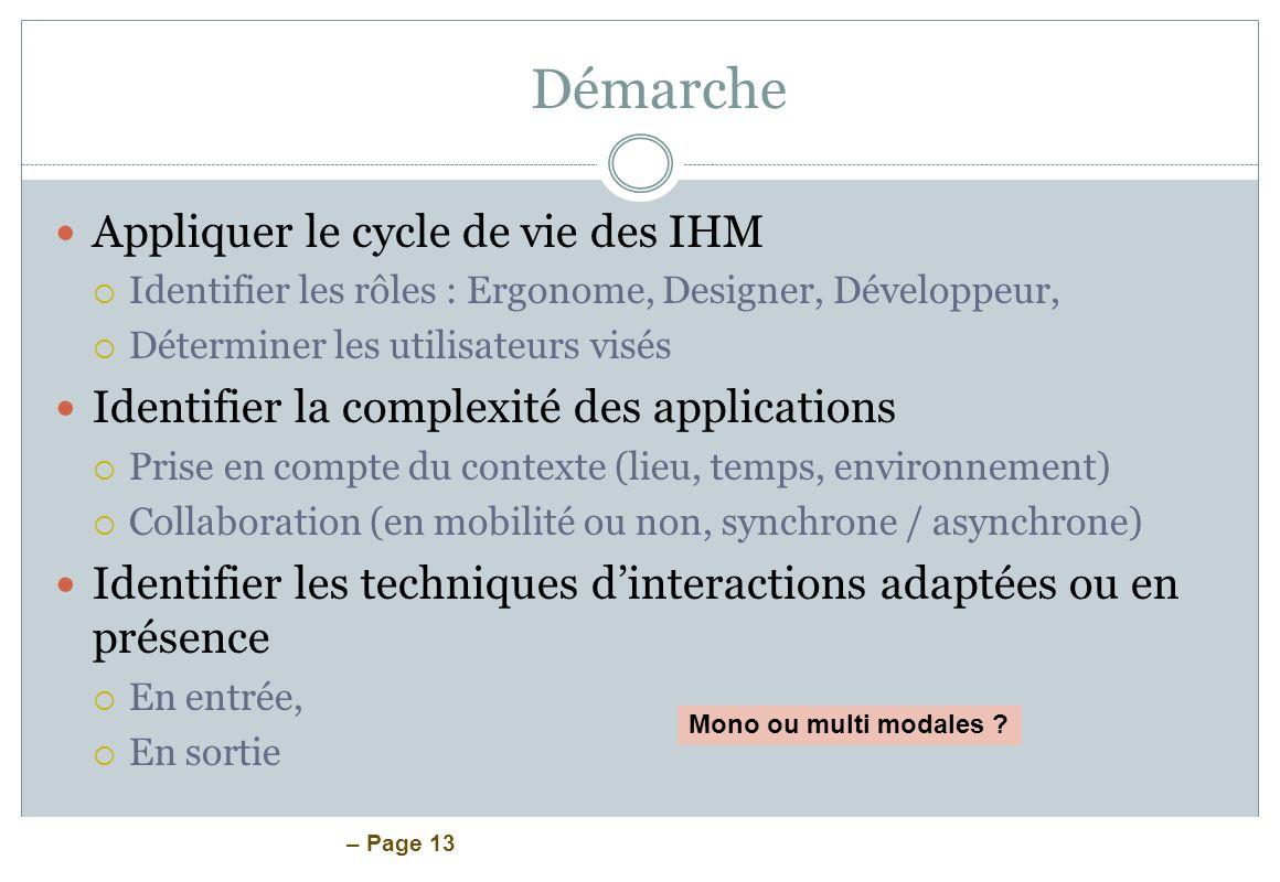– Page 13 Démarche Appliquer le cycle de vie des IHM Identifier les rôles : Ergonome, Designer, Développeur, Déterminer les utilisateurs visés Identif