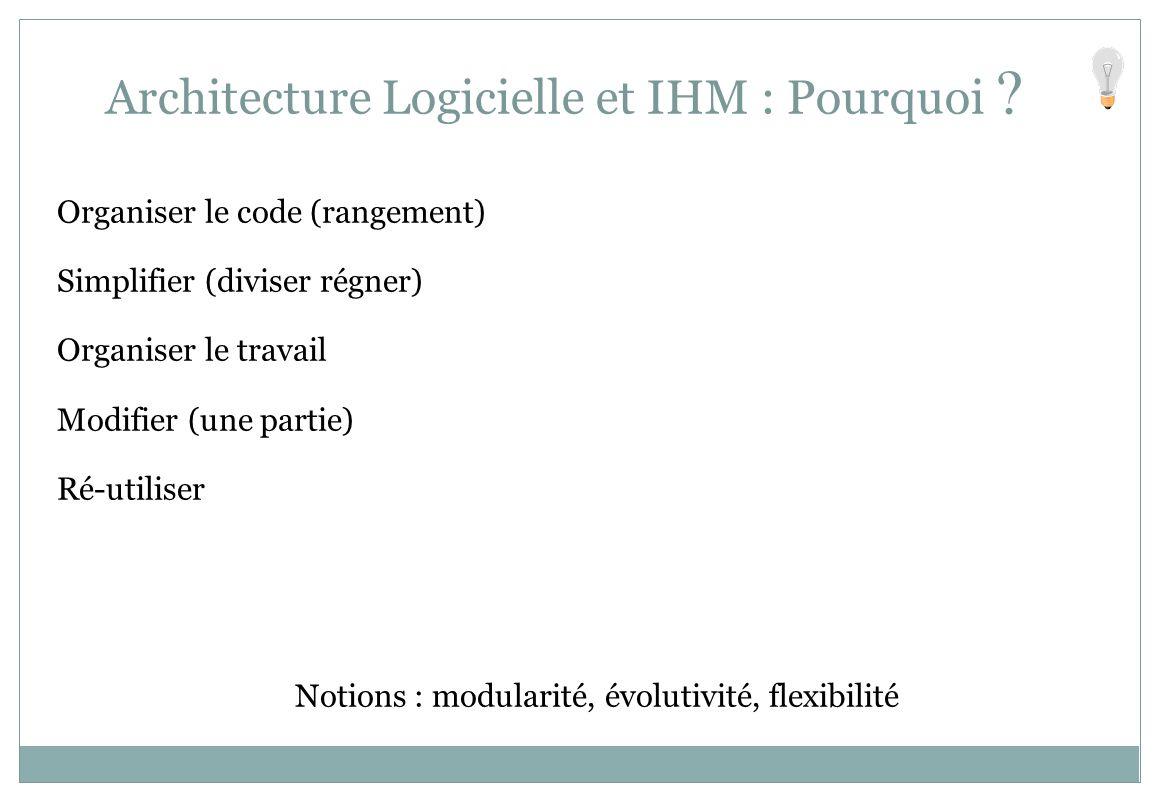 Organiser le code (rangement) Simplifier (diviser régner) Organiser le travail Modifier (une partie) Ré-utiliser Notions : modularité, évolutivité, fl