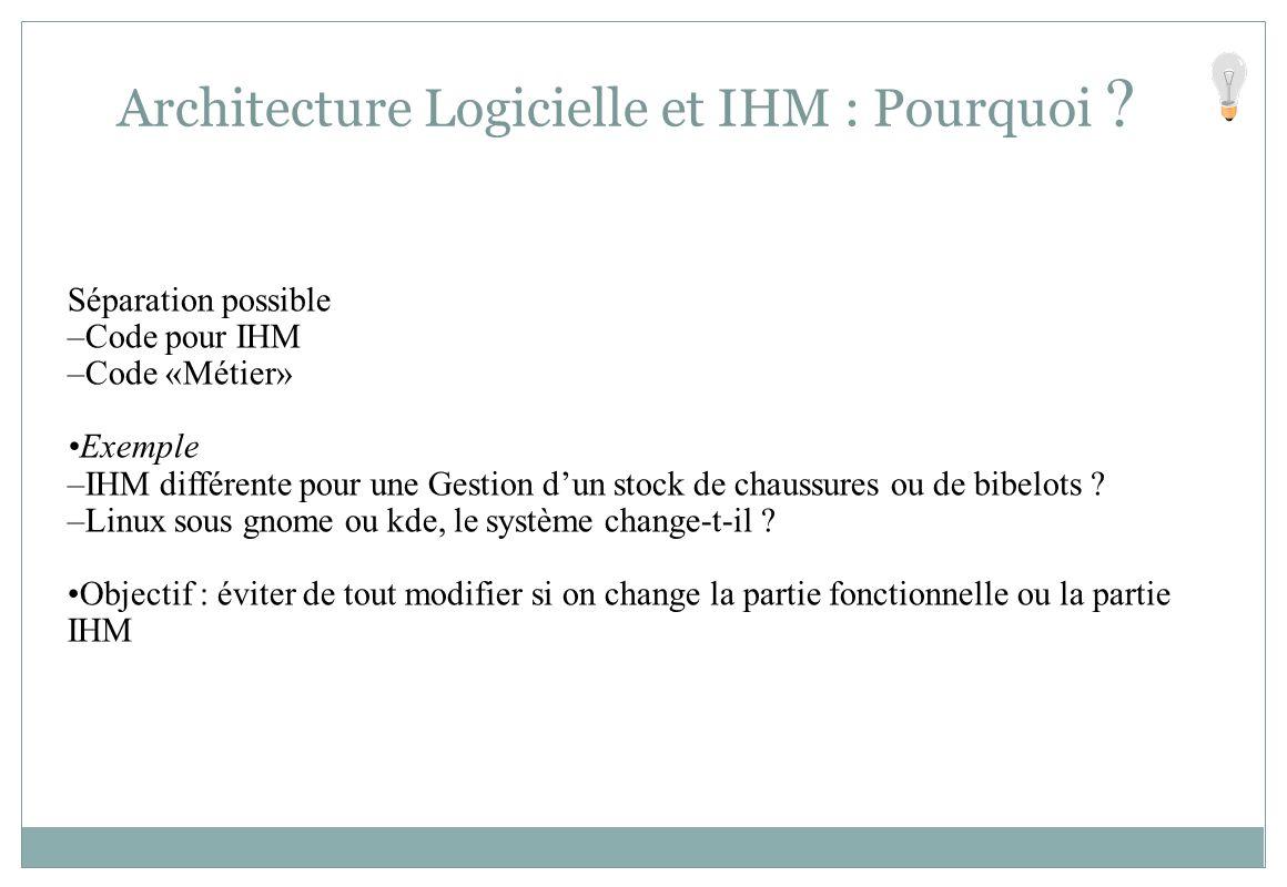 Séparation possible –Code pour IHM –Code «Métier» Exemple –IHM différente pour une Gestion dun stock de chaussures ou de bibelots ? –Linux sous gnome