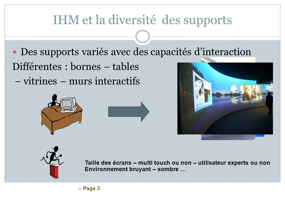 – Page 4 IHM et la diversité des supports Des supports variés avec des capacités dinteraction Différentes : des supports dédiés Utilisateurs experts – efficacité sécurité mobilité