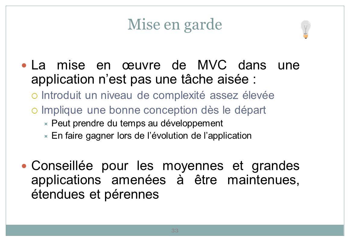 Mise en garde La mise en œuvre de MVC dans une application nest pas une tâche aisée : Introduit un niveau de complexité assez élevée Implique une bonn