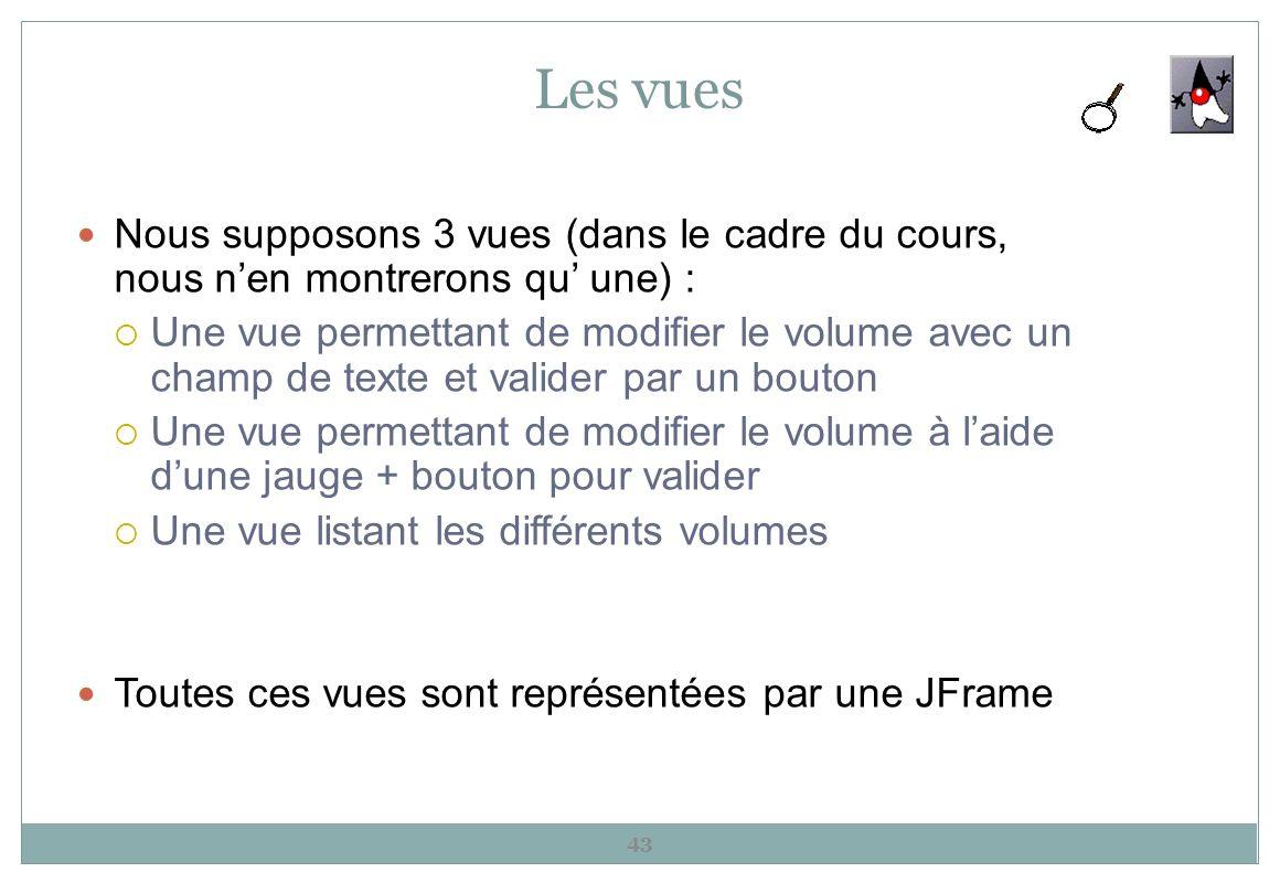 Les vues Nous supposons 3 vues (dans le cadre du cours, nous nen montrerons qu une) : Une vue permettant de modifier le volume avec un champ de texte
