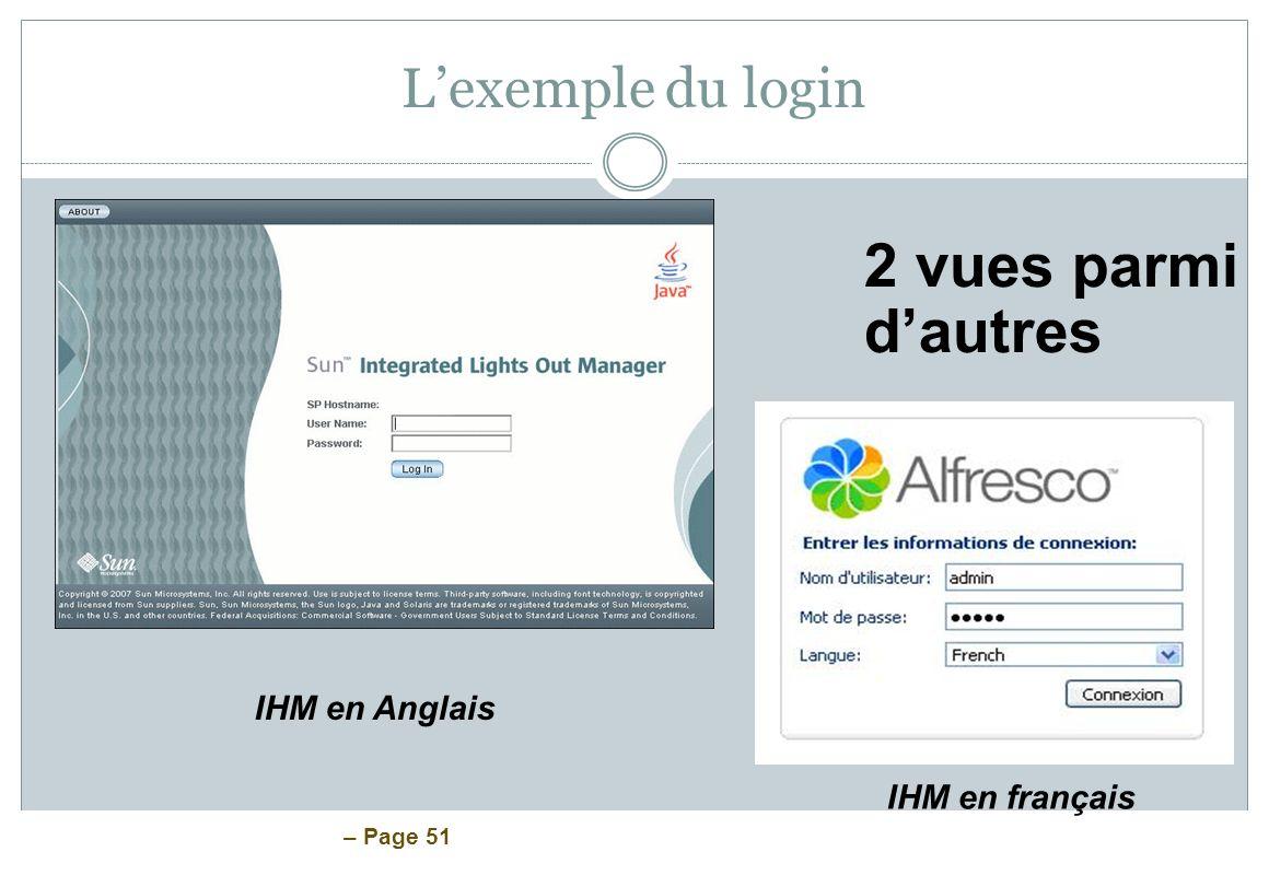 – Page 51 Lexemple du login 2 vues parmi dautres IHM en Anglais IHM en français