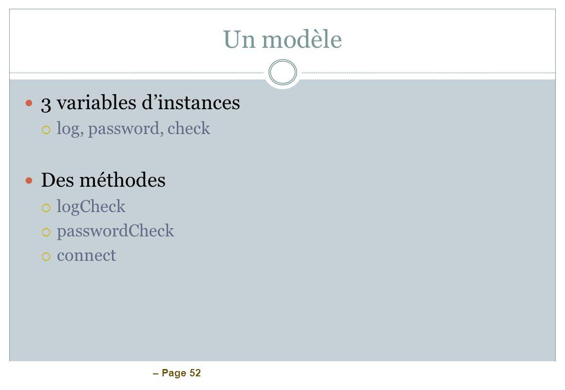 – Page 52 Un modèle 3 variables dinstances log, password, check Des méthodes logCheck passwordCheck connect