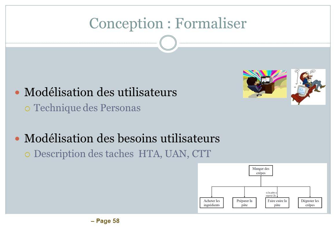 – Page 58 Conception : Formaliser Modélisation des utilisateurs Technique des Personas Modélisation des besoins utilisateurs Description des taches HT