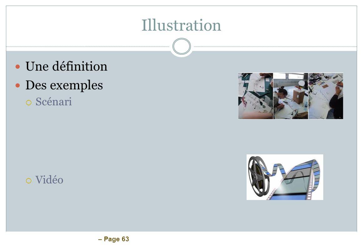 – Page 63 Illustration Une définition Des exemples Scénari Vidéo