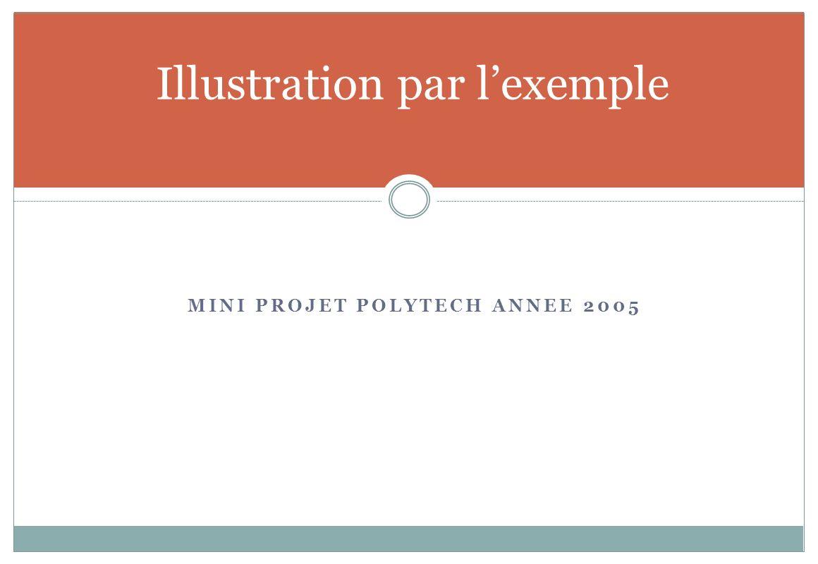 MINI PROJET POLYTECH ANNEE 2005 Illustration par lexemple