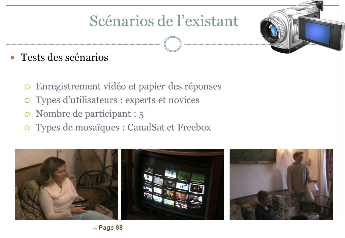 – Page 88 Scénarios de lexistant Tests des scénarios Enregistrement vidéo et papier des réponses Types dutilisateurs : experts et novices Nombre de pa