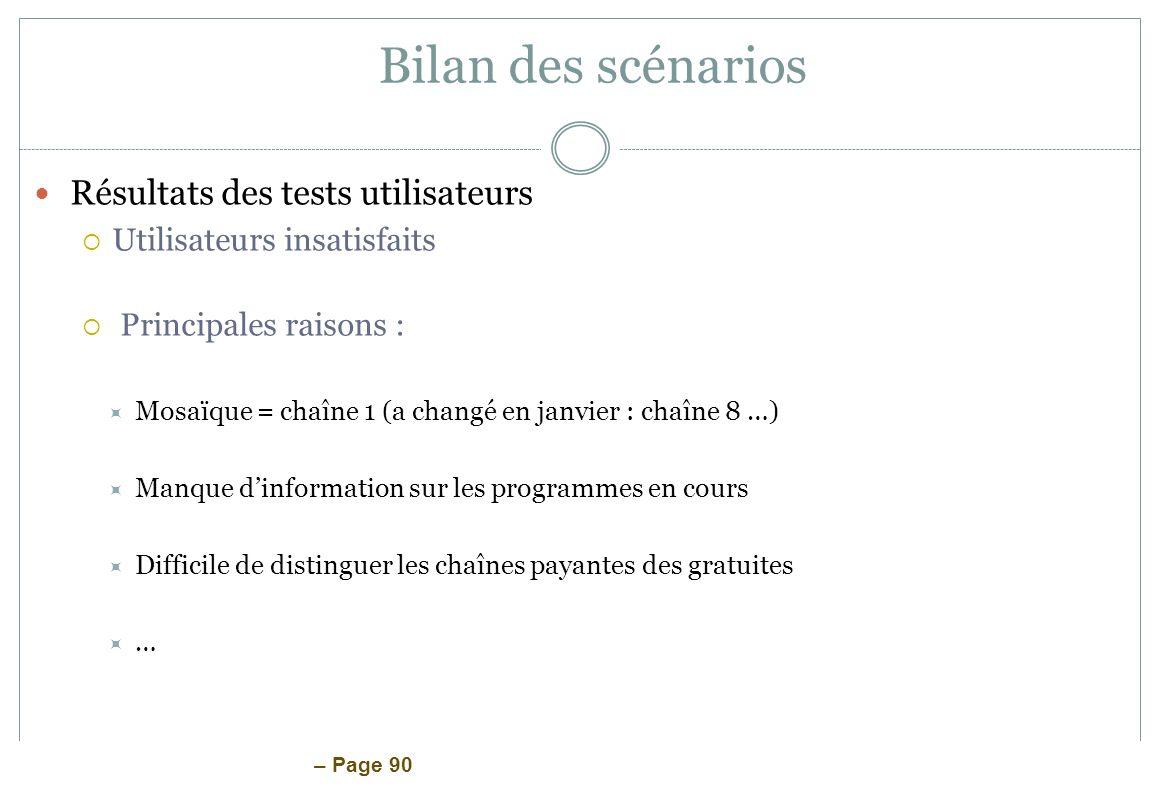 – Page 90 Bilan des scénarios Résultats des tests utilisateurs Utilisateurs insatisfaits Principales raisons : Mosaïque = chaîne 1 (a changé en janvie