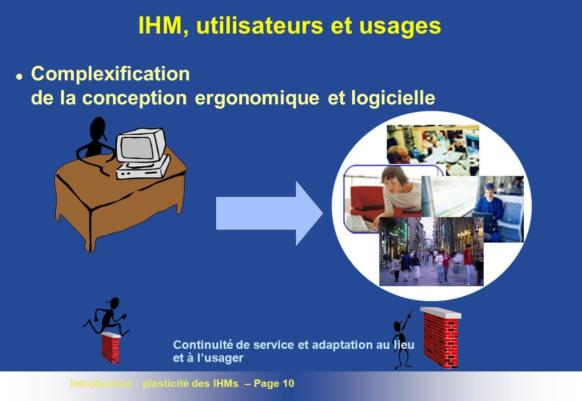 Introduction : plasticité des IHMs – Page 10 IHM, utilisateurs et usages l Complexification de la conception ergonomique et logicielle Continuité de service et adaptation au lieu et à lusager