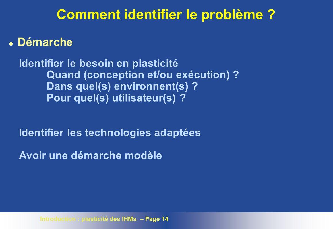 Introduction : plasticité des IHMs – Page 14 Comment identifier le problème .