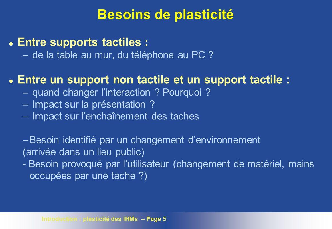 Introduction : plasticité des IHMs – Page 5 Besoins de plasticité l Entre supports tactiles : – de la table au mur, du téléphone au PC .