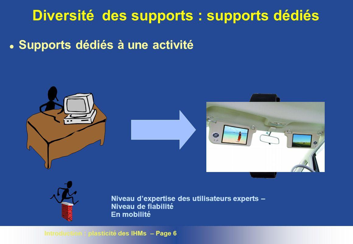 Introduction : plasticité des IHMs – Page 6 Diversité des supports : supports dédiés l Supports dédiés à une activité Niveau dexpertise des utilisateurs experts – Niveau de fiabilité En mobilité