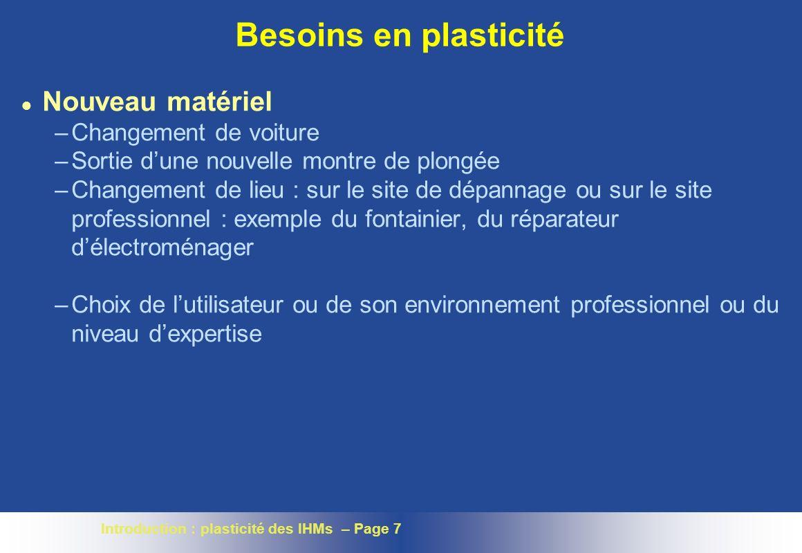 Introduction : plasticité des IHMs – Page 8 Supports mobiles Mêmes usages ? Mêmes services ?