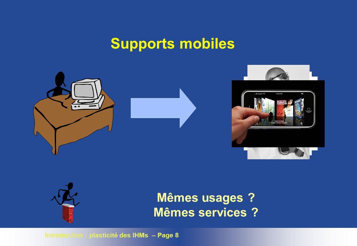 Introduction : plasticité des IHMs – Page 8 Supports mobiles Mêmes usages Mêmes services