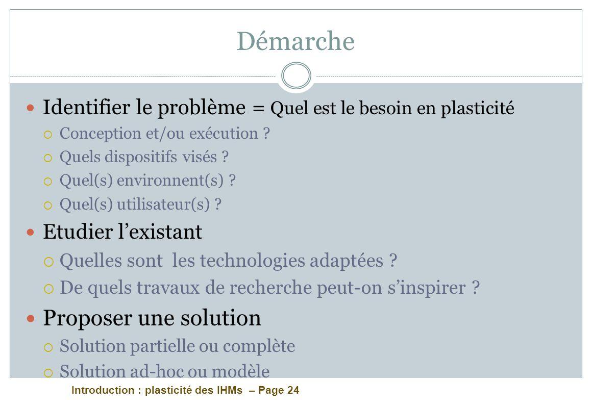 Introduction : plasticité des IHMs – Page 24 Identifier le problème = Quel est le besoin en plasticité Conception et/ou exécution ? Quels dispositifs