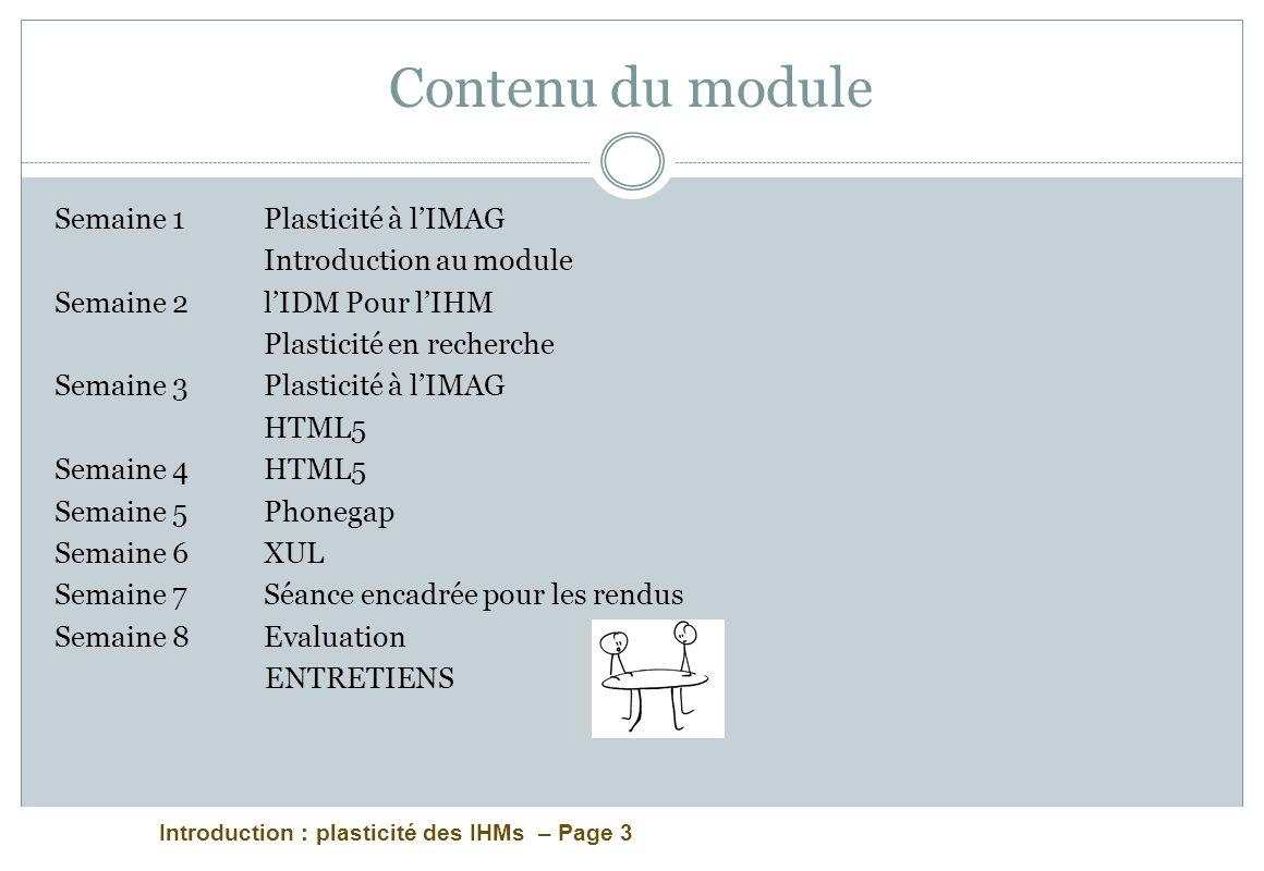 Introduction : plasticité des IHMs – Page 3 Contenu du module Semaine 1 Plasticité à lIMAG Introduction au module Semaine 2 lIDM Pour lIHM Plasticité