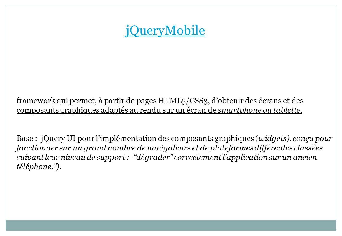 jQueryMobile framework qui permet, à partir de pages HTML5/CSS3, dobtenir des écrans et des composants graphiques adaptés au rendu sur un écran de sma