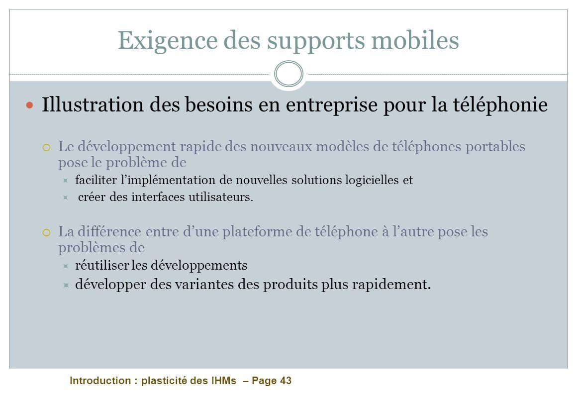 Introduction : plasticité des IHMs – Page 43 Exigence des supports mobiles Illustration des besoins en entreprise pour la téléphonie Le développement