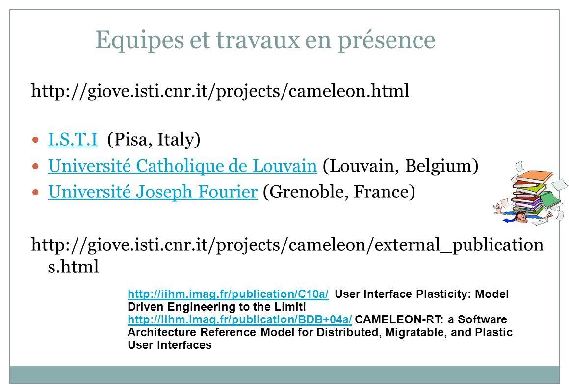Equipes et travaux en présence http://giove.isti.cnr.it/projects/cameleon.html I.S.T.I (Pisa, Italy) I.S.T.I Université Catholique de Louvain (Louvain