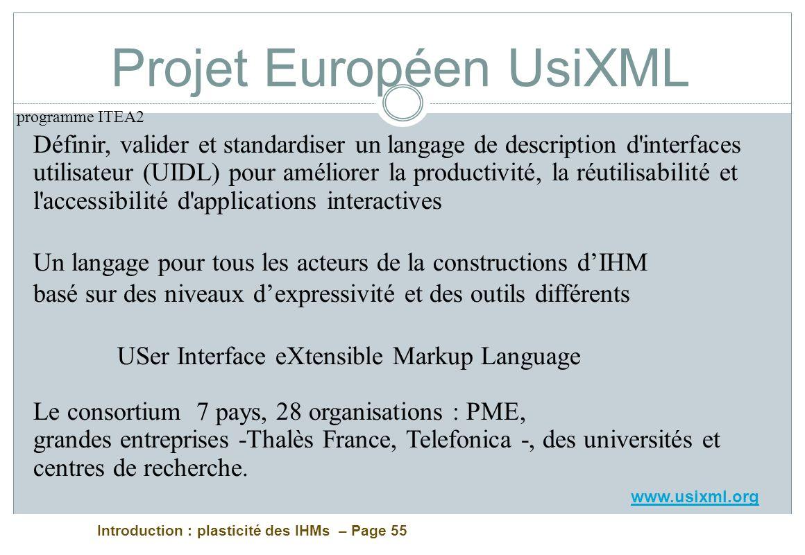 Introduction : plasticité des IHMs – Page 55 Projet Européen UsiXML Définir, valider et standardiser un langage de description d'interfaces utilisateu