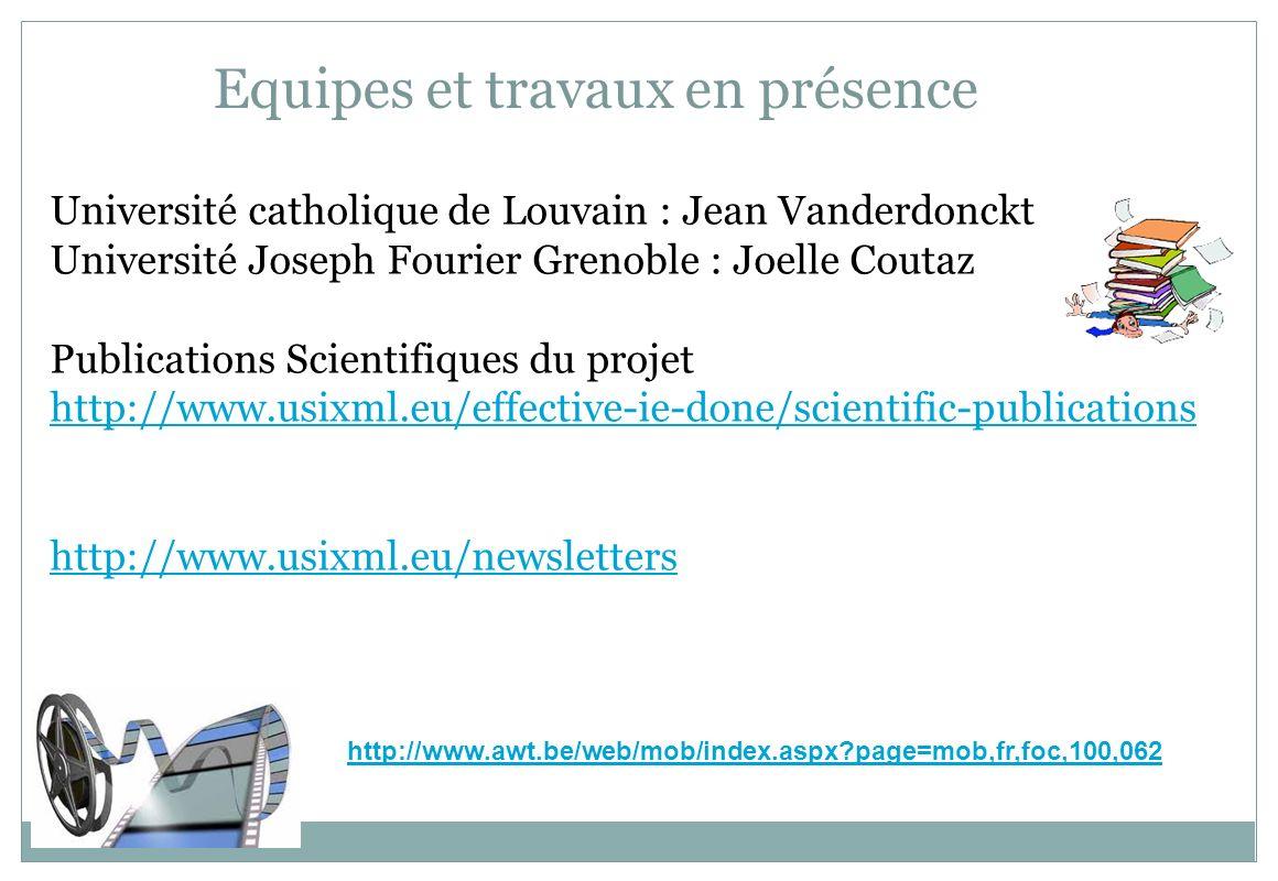 Equipes et travaux en présence Université catholique de Louvain : Jean Vanderdonckt Université Joseph Fourier Grenoble : Joelle Coutaz Publications Sc