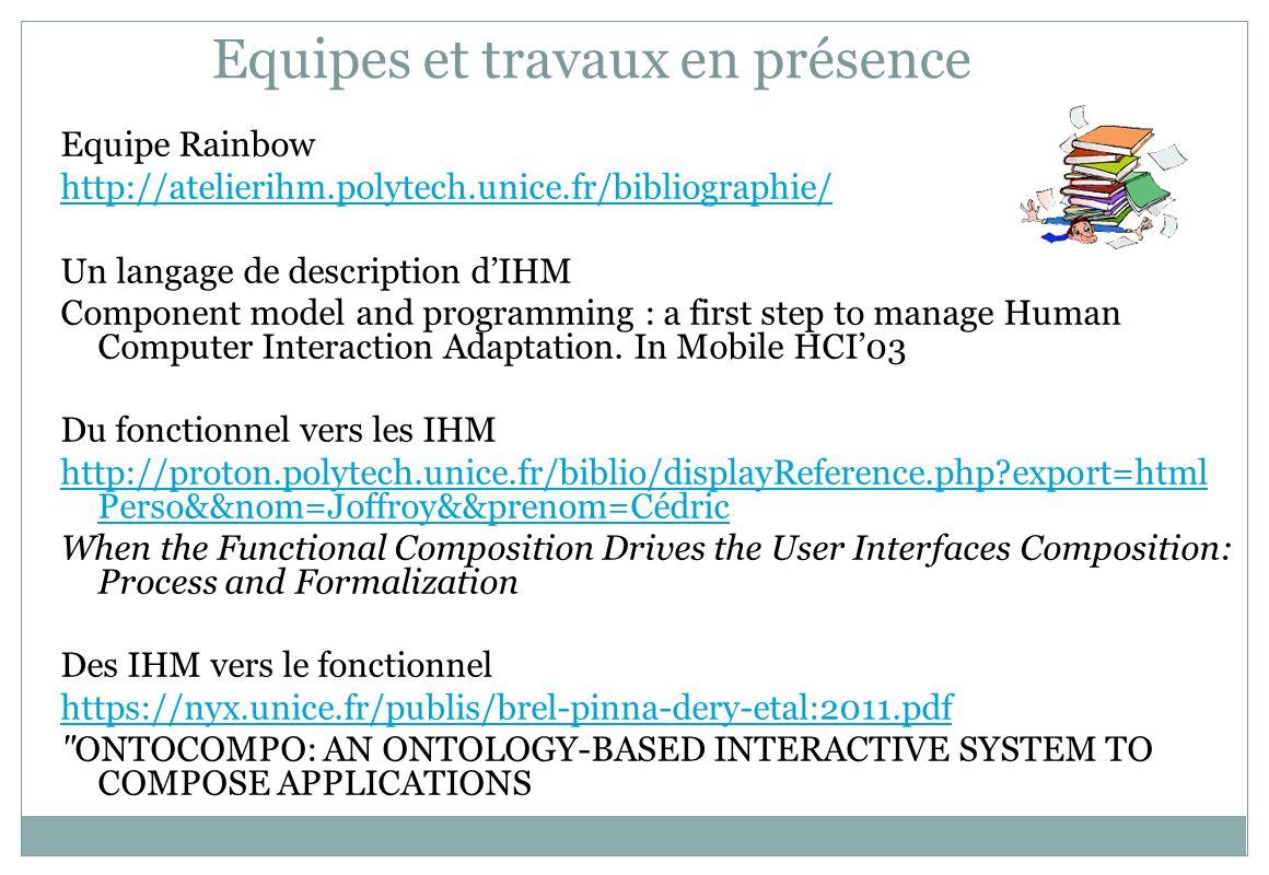 Equipes et travaux en présence Equipe Rainbow http://atelierihm.polytech.unice.fr/bibliographie/ Un langage de description dIHM Component model and pr