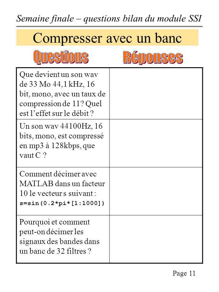 Semaine finale – questions bilan du module SSI Page 11 Compresser avec un banc Que devient un son wav de 33 Mo 44,1 kHz, 16 bit, mono, avec un taux de compression de 11.