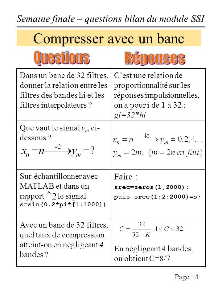 Semaine finale – questions bilan du module SSI Page 14 Compresser avec un banc Dans un banc de 32 filtres, donner la relation entre les filtres des bandes hi et les filtres interpolateurs .