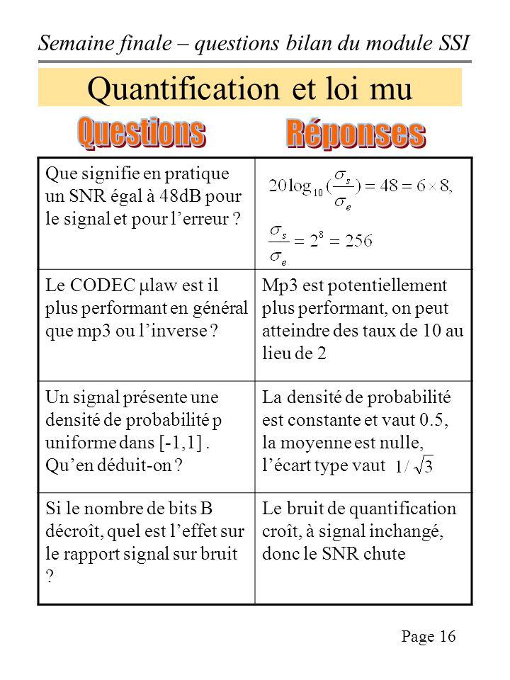 Semaine finale – questions bilan du module SSI Page 16 Quantification et loi mu Que signifie en pratique un SNR égal à 48dB pour le signal et pour lerreur .
