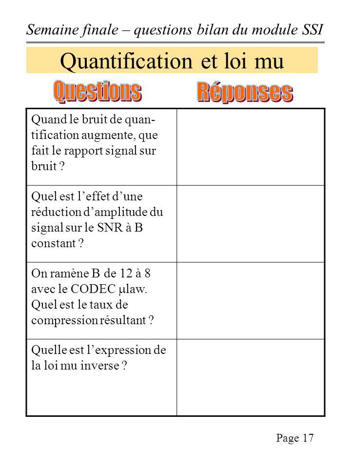 Semaine finale – questions bilan du module SSI Page 17 Quantification et loi mu Quand le bruit de quan- tification augmente, que fait le rapport signal sur bruit .
