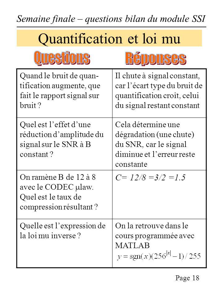 Semaine finale – questions bilan du module SSI Page 18 Quantification et loi mu Quand le bruit de quan- tification augmente, que fait le rapport signal sur bruit .