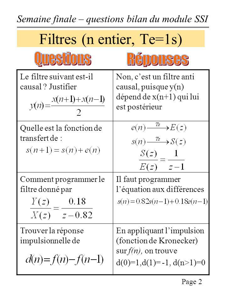 Semaine finale – questions bilan du module SSI Page 3 Filtres (n entier, Te=1s) Donner lexpression de la RH du filtre donné par Peut on dire dun filtre dont la réponse à un échelon est sil est stable EBSB .